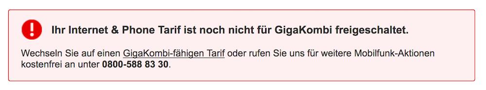 Fehlermeldung Vodafone