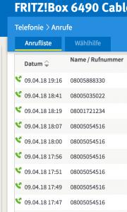 Anrufliste Vodafone-Hotline